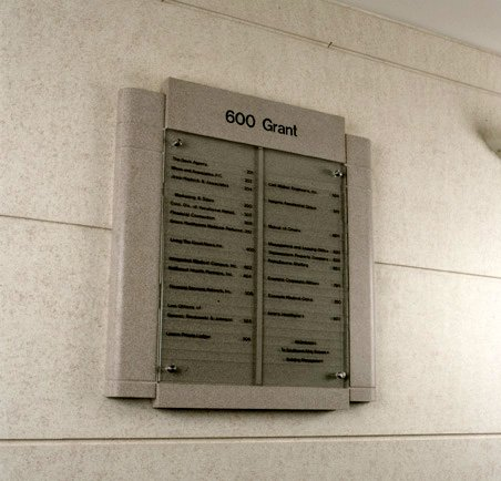 600 Grant Lobby Directory Sign