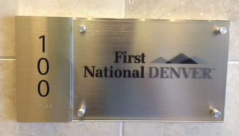 First National Denver ADA Braille Interior Sign
