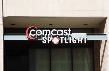 Comcast Spotlight Illuminated Channel Letters Outdoor Sign
