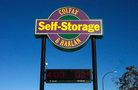 Self Storage Illuminated Pole Outdoor Sign with LED Time/Temperature