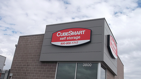 Cubesmart Self Storage Illuminated pan canister outdoor sign