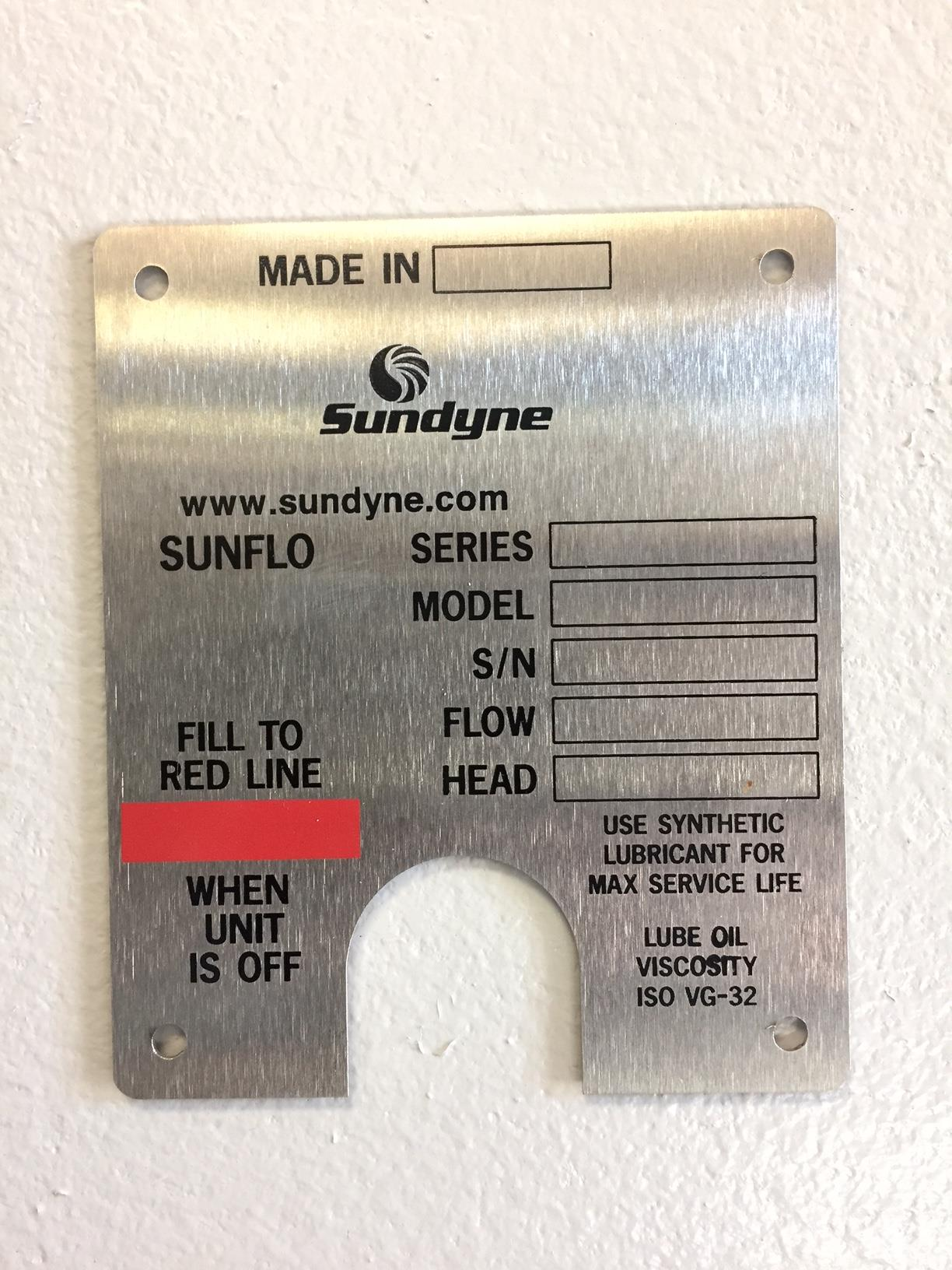 Sundyne Equipment Tag