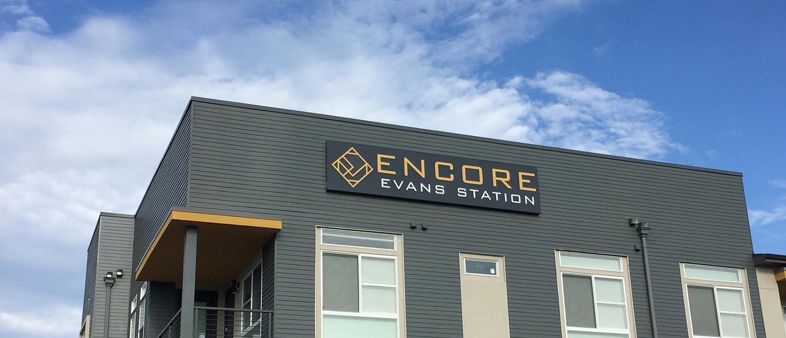 Encore Evans Station Sign