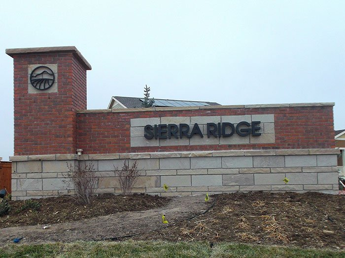 Outdoor Sign for Sierra Ridge with Reverse Halo Lit Channel Letters
