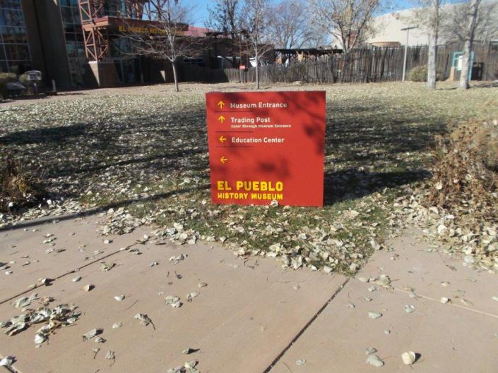 Outdoor directory sign at El Pueblo History Museum.